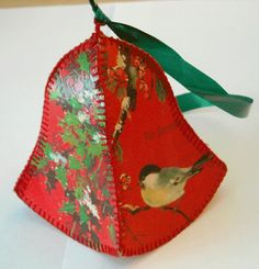 Paper bell made from old Christmas cards.