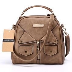 Womens Fashion Double Zipper Pu Leather Shoulder Bag