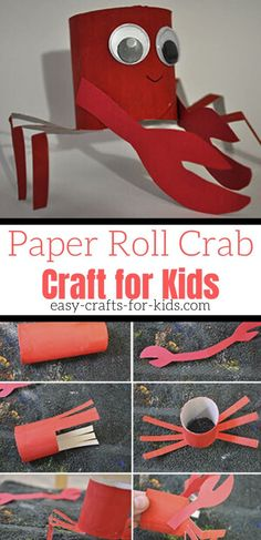 Beach crafts for kids do not come much better than this paper roll crab! | Ocean Crafts for Kids