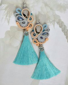Beaded Tassel Earrings, Soutache Earrings, Ring Earrings, Clip On Earrings, Shibori, Soutache Tutorial, Crochet Earrings Pattern, Jewelery, Handmade Jewelry