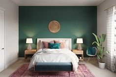 View this Bohemian, Glam Bedroom design from Havenly interior designer Randi. Shop products and even get started designing your own space. Green Bedroom Walls, Green Master Bedroom, Sage Green Bedroom, Green Bedroom Decor, Green Accent Walls, Glam Bedroom, Bedroom Wall Colors, Accent Wall Bedroom, Green Rooms