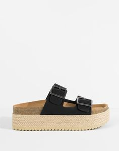 Pull&Bear - footwear - new products - block sandals with buckle trim - black - 15960111-V2016