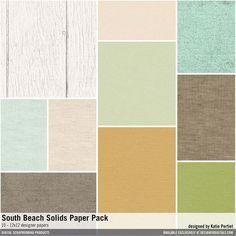 South Beach Solids Paper Pack textured solids cardstocks #designerdigitals
