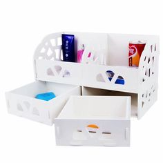 Wooden Desk Cosmetics Organizer For Grids Display Box Storage w/ two drawers