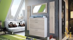 Wardrobe Set Hallway Furniture Malea in White - High Gloss & Natural Tones | eBay