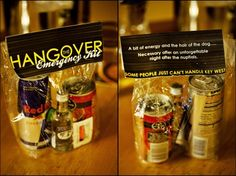 hangover kits for the morning after! instead of redbull you could do a five hour energy, a sample pack of tylenol and maybe some hand sanitizer ;P or a tea bag?