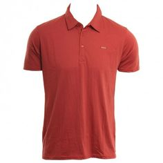 RVCA Mens Knit Sure Thing Polo Rosewood