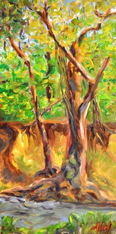 Creek at Bob Woodruff Park oil painting http://www.azureartisan.com/