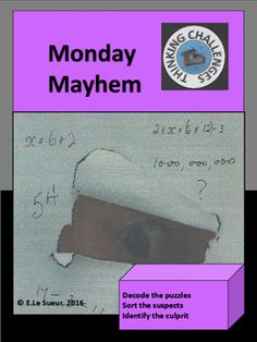 Monday Mayhem : A Secret Code Mystery Math Teacher, Teacher Resources, Relief Teacher, Higher Order Thinking, Challenge Group, Substitute Teacher, Critical Thinking Skills, Math Centers, Middle School