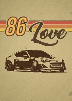 Awesome illustrated Displate of a Toyota 86 (Scion FRS) Canvas Wall Art, Wall Art Prints, Poster Prints, Canvas Prints, Toyota 86, Car Posters, Paper Ship, Smudging, Vector Art