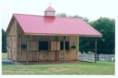 Horse Barns - 11 - enclosed pitch) Stick frame construction w/ polar siding Hendersonville, TN Dream Stables, Dream Barn, Horse Stables, Horse Farms, Horse Shed, Horse Barn Plans, My Horse, Horses, Small Horse Barns