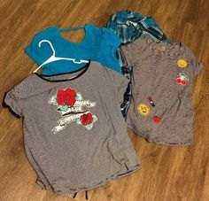 72633805c930 Lot of 4 Girls Justice Shirt Flannel Size 16   18   20 Long And Short