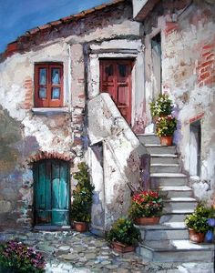 – Art Drawing Tips Landscape Pencil Drawings, Landscape Paintings, Art Drawings, Building Art, Beautiful Paintings, House Painting, Traditional Art, Painting Inspiration, Watercolor Paintings
