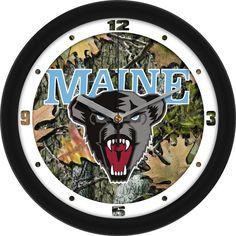 Mens Maine Black Bears - Camo Wall Clock