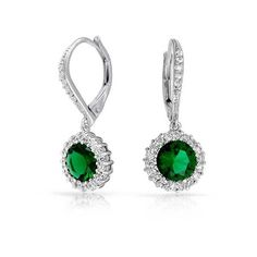 Bling Jewelry Emerald Color CZ Flower Crown Leverback Dangle Earrings... ($37) ❤ liked on Polyvore