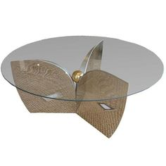 """Image of Mid-Century """"Atomic"""" Chrome & Glass Coffee Table"""