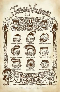 Johnny Voodoo's HeadHunter Hair Chart - 11X17 signed Art Print - by Shawn Dickinson