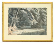 *Edward Bawden RA (1903-1989),    A LAKE WITH ARUMS Signed and dated 1948 l.r., pen and ink and watercolour 45 x 57cm Sold for £3900 28th January 2014