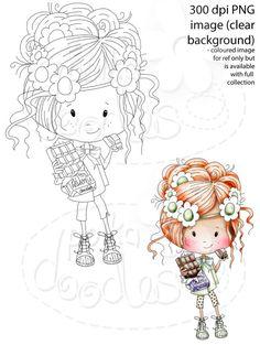 Winnie Sugar Sprinkles Springtime - Mmmmm Chocolate! - Printable Crafting Digital Stamp Craft Scrapbooking Download - Polkadoodles Ltd