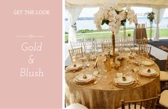 Get the Look: Gold and Blush Event Décor - Linen Rentals Wedding Table Linens, Linen Rentals, Event Photos, Chair Covers, Dream Job, Event Decor, Color Trends, Get The Look, Event Design