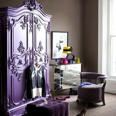 rich colors + mirrored furniture