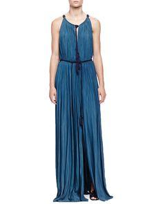 Tassel Drawstring-Neck Slit Maxi Dress, Ocean Blue, Women's, Size: 36/4 - Lanvin