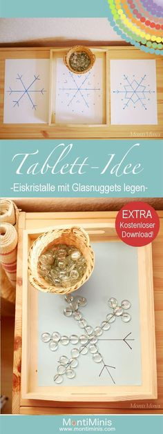 Tablett-Idee - Eiskristalle mit Glasnuggets legen Tray Idea - Place ice crystals with glass nuggets Montessori Blog, Montessori Activities, Learning Activities, Montessori Elementary, Elementary Teaching, Kindergarten Lesson Plans, Kindergarten Activities, Preschool Education, Kindergarten Architecture