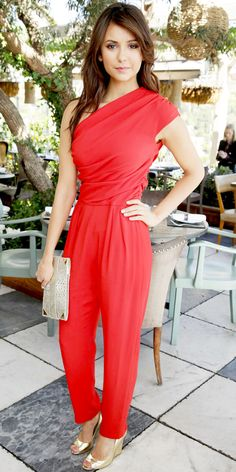 Nina Dobrev lunched with The Hollywood Reporter and Jimmy Choo in the label's peep-toe wedges, a single-shoulder Max Mara jumpsuit and Devi Kroell python clutch.