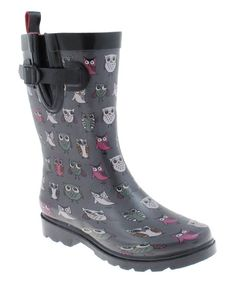 Gray Owl Gusset Side-Buckle Rain Boot