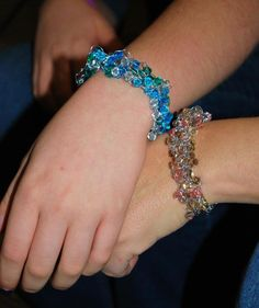 Crochet wire bracelets: Niece Natalie and I made these at a crafting day.  Natalie in blue, me in peach.
