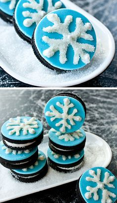 Snowflake Oreo Cookies | Click for 26 Easy Christmas Party Food Ideas for Kids | Easy Holiday Treats for Kids to Make