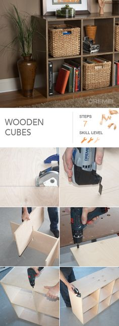 DIY your own super sturdy wooden cubes shelf. Use it for baskets, books or even a TV stand. #Dremel shows you how.