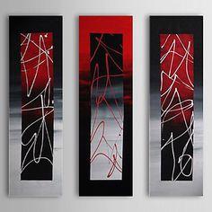 現代アートなモダン キャンバスアート 絵 壁 壁掛け 油絵の特大抽象画3枚で1セット ブラック レッド シルバー ステンレス 額縁【納期】お取り寄せ2~3週間前後で発送予定【送料無料】ポイント