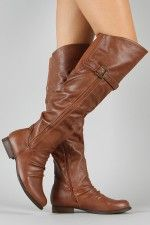 Bamboo Rascal-02 Buckle Round Toe Thigh High Boot   @Melissa Swanstrom what do you think of these? Im trying to find boots.