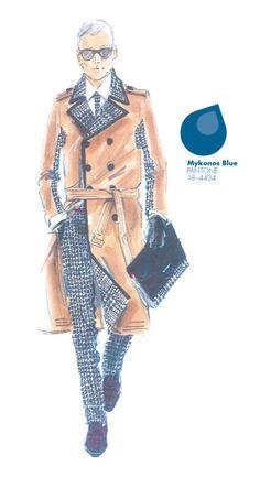 Tommy Hilfiger - Men - PANTONE Color Mykonos Blue - Pantone Fashion Color Report, Fall 2013