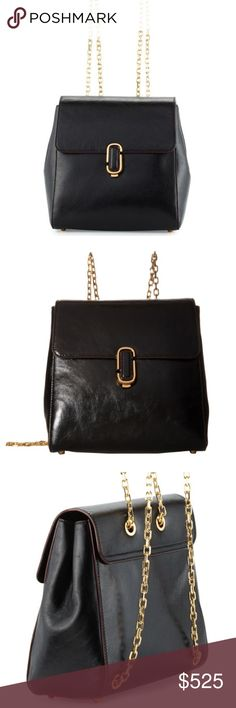 ⚡️sale⚡️MARC JACOBS J Marc Chain-Strap Backpack Authentic Marc Jacobs backpack in black goatskin leather with contrast maroon pipping and gold chain straps. Like new, love this bag (worn once) but just don't use it like I thought I would. Making room for other bags I have in mind. Original dust bag included 🙃 Marc Jacobs Bags Backpacks