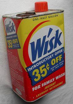 WISK 1950s DETERGENT CAN LIQUID VINTAGE