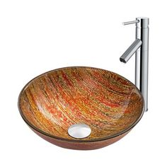Pazo Blazing Fire Glass Vessel Sink and Dior Faucet Set