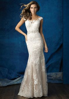 Lace wedding dress with illusion bateau neckline and sheath silhouette I Style: 9371 I by Allure Bridals I http://knot.ly/6498Bxzpw