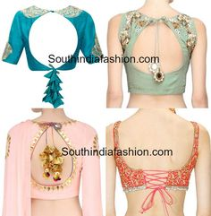 Take a look at these statement blouse back neck designs and different styles of the trendy tassels. Take a look at these statement blouse back neck designs and different styles of the trendy tassels. Blouse Designs Catalogue, Saree Blouse Neck Designs, Stylish Blouse Design, Fancy Blouse Designs, Bridal Blouse Designs, Back Design Of Blouse, Choli Designs, Indie Mode, Kurta Neck Design