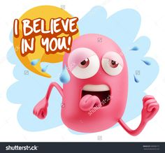 3d Illustration GYM Fitness Character Emoticon Expression saying I believe in you with Colorful Speech Bubble.