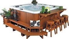15 Jacuzzi Deck Tips: Techniques of Pro Installers & Designers - Home Bigger Hot Tub Gazebo, Hot Tub Backyard, Backyard Pools, Pool Decks, Whirlpool Bar, Hot Tub Bar, Hot Tubs, Hot Tub Room, Gazebo Plans