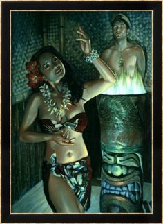 print type: giclee edition type: numbered by the artist edition size: 750 framed size: 61 x 80 cm (approx) standard frame: black bamboo / view framing style ** only available framed Posters Uk, Girl Posters, Tiki Art, Tiki Tiki, Vintage Tiki, Hula Dancers, Hula Girl, Giclee Print, Wall Art Prints