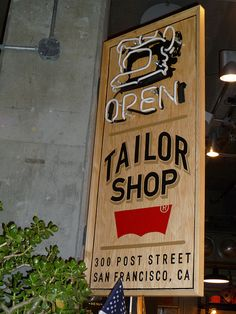 Levi's tailor shop | mixing handpainted and neon!
