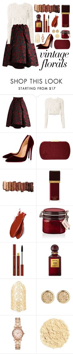 """""""(Contest) Vintage Floral: Red roses"""" by shattered-masterpiece on Polyvore featuring Chicwish, A.L.C., Christian Louboutin, Natasha, Urban Decay, Tom Ford, Balmain, Elemis, Kendra Scott and Michael Kors"""
