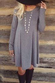 Classic Stripe Pleated Round Neck A-line Dress