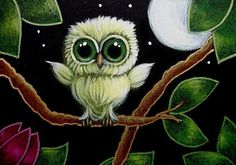 Art: TINY GREEN OWL - WHERE IS MOM? by Artist Cyra R. Cancel