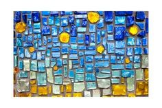 Art Print: Colorful Glass Mosaic Wall Background by tupikov : 24x16in