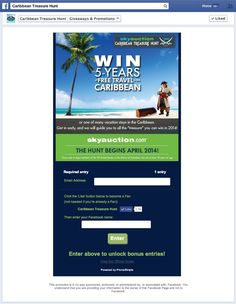 SkyAuction's 2014 5-years of Free Travel in the Caribbean sweepstakes Entry form