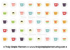 Printable Tea & Coffee Stickers for erin condren life planner, filofax, plum paper, limelife. instant download printable stickers.